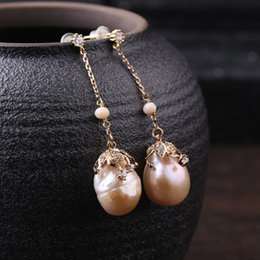 sherlock jewelry UK - Sherlock Style Earrings Freshwater Pearls And Zircon Drop Earrings For Women Female Summer Jewelry LX18