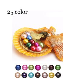 Discount great easter gifts - 2018 wholesale 25 colors round akoya single pearls oysters, AAA 6-7mm individually wrapped, great party gift red shell m
