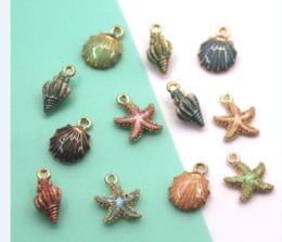 Sea Shell StarfiSh online shopping - 10pcs Sea theme Charm Oil Drop Zinc Alloy Colourful conch shell starfish enamel Charm Pendants