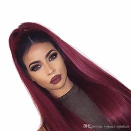 China Ombre Human Hair Lace Front Wigs T1b Burg Two Tone Full Lace Wigs With Baby Hair Peruvian Virgin Hair Straight Dark Root Burgundy supplier dark roots burgundy hair suppliers