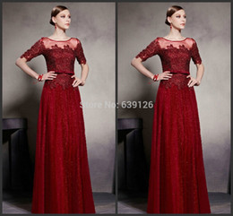 Occasion Dresses Plus Sizes NZ - Long Prom Dresses Half Sleeves Burgundy Tulle Sequins Floor Length Lace Plus Size Evening Dres Party Wear 2018