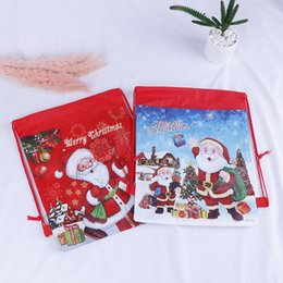 $enCountryForm.capitalKeyWord Australia - 1pc Santa Claus Drawstring Candy Bag Christmas Gift Kids New Year Gifts Holders Bag Red Blue Color Home Xmas Party Favor