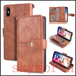 SamSung galaxy note magnetic wallet online shopping - For iphone X XS XR Max Plus Samsung Galaxy Note S9 Plus Wallet Retro Leather Case Magnetic Detachable Card Slots