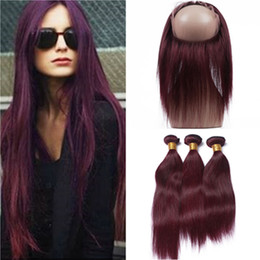 Wine Red Hair Color Indian Australia - Burgundy Virgin Indian Human Hair Weaves with 360 Frontal Pre Plucked Straight #99J Wine Red 360 Full Lace Closure 22.5x4x2 with Bundles