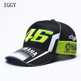 Iggy alta qualidade moto gp 46 motocicleta 3d bordado f1 racing cap mulheres homens snapback caps rossi vr46 boné de beisebol yamaha chapéus em Promoção
