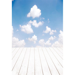 Chinese  Blue Sky White Clouds Kids Children Photo Background Printed Baby Newborn Photography Props Studio Picture Shooting Backdrops Wood Floor manufacturers
