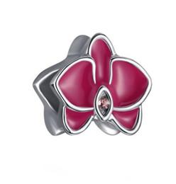 Bracelet Orchids UK - Fit Pandora Charm Bracelet Enamel Orchid European Silver Bead Charms Beads DIY Snake Chain For Women Bangle & Necklace Jewelry