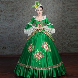 $enCountryForm.capitalKeyWord NZ - Marie Antoinette Dress Royal Green Floral Embroidery Medieval Civil War Southern Belle Ball Gowns Women Lace Dress Reenactment Clothing F275