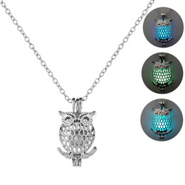 Owl Chain Australia - Creative Luminous Beads Necklace Geometric Hollow Cute Owl Pendant Necklace For Women Alloy Long Sweater Chain Jewelry Accessories Wholesale