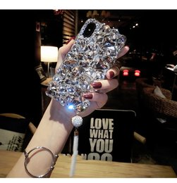 Note phoNe back pouches online shopping - Bling Bling Diamond Tassel Back Cover Shinning Glitter Rhinestone Phone Shell Pendant for iPhone XS Max XR s Plus Samsung S10 Huawei