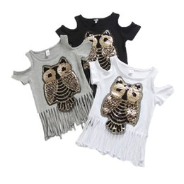 Wholesale Summer Casual Sequins Owl Printed Off Shoulder Short Sleeves Tops For Baby Girl Fashion New Children Tassel Long T shirt