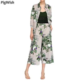 Belts Piece Canada - Set Women Fashion Striped Printed Shirt Dress With Belt Elegant Casual Floral Print Wide Leg Pants Two Piece Set Top And Pant