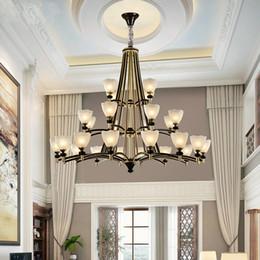 $enCountryForm.capitalKeyWord NZ - Duplex Stair Chandelier Villa Living Room Glass Pendant Lamps European Retro Restaurant Three Layers Chandeliers Hotel Hall Chandelier light