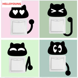 Black Korean Style Glasses Australia - Cartoon 10pcs Black Kitten Switch Stickers Wall Stickers For Children's Rooms Living Room Bedroom Home Decor Stickers