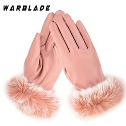 Leather Rabbit Gloves Australia - WBL Fashion Winter Women Outdoor Casual Gloves Leather Plush Windproof Full Finger Wrist Mittens Lady Warm Rabbit Fur Glove