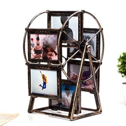 Shape photo frameS online shopping - Ferris Wheel Shape Photo Frame Vintage Originality Personality Wedding Dress Metal Classical Creative Rotating Retro Picture Frames xh jj