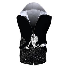 $enCountryForm.capitalKeyWord UK - 3D printing Sleeveless Tank Tops zipper Hoodies Sweatshirts Men summer Thin astronaut Male Bodybuilding Hoodies Fitness Clothes