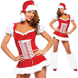 short dress costumes Australia - Red Santa Claus Dress Night Club Bar Xmas Fancy Dress 50% Short Sleeve Plush Criss-cross Candy Girl Christmas Theme Costume