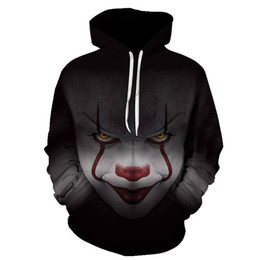 China 2018 Fashion New Horror Movie Clown Hoodie 3d Skull Sweatshirt Plus Sportswear Tracksuit Men Women Unisex Pullover Size S-6XL supplier sweatshirt clown suppliers