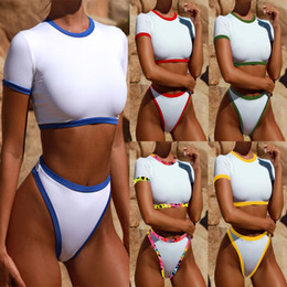 Wholesale 5styles Women solid sex appeal bikini suit separative Swimming suit girl fashion swimmingwear round neck new styles bathing suit FFA563