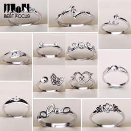 Anel da pérola Configurações 925 Sliver Anéis para As Mulheres 20 Estilos MIX DIY Anéis Ajustável tamanho Ajustes Jóias Presente de Natal Jóias Declaração venda por atacado