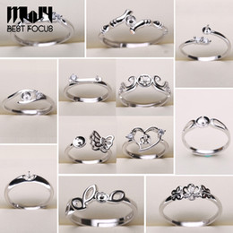 Wholesale Pearl Ring Settings 925 Sliver Rings for Women 20 Styles MIX DIY Rings Adjustable size Jewelry Settings Christmas Gift Statement Jewelry