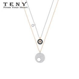 Wholesale TENY Swa Eye Of The Demon Double Necklace Sterling Silver OriginalHigh Quality Women Jewelry First Choice Free Package Mail