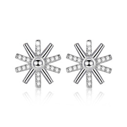 Red Rose eaRRings studs online shopping - 925 Sliver mm A Zicron Sun Flowers Studs Alloy Earrings White Rose Golden Colors for Women