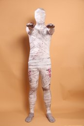 Wholesale mummy catsuit costume online – ideas Adult Mummy Pattern Costumes Zentai Full Body Suit Lycra Cosplay Costumes Spandex Suit Catsuit Halloween Costume