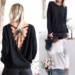 Discount backless sweater long sleeve - Loose Shirts Knit Sweater Fashion Irregular Tops Cotton Long Sleeve backless Baggy Jumper Batwing Casual Pullover Women