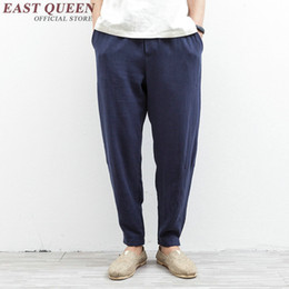Traditional Linens Australia - Linen pants men Chinese traditional men clothing casual pants loose breathable comfort jogger sweatpants solid color KK1338 H S