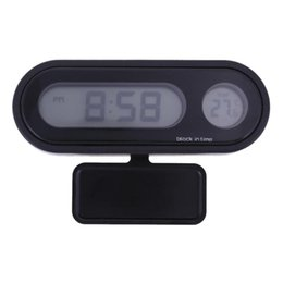 auto clocks car 2019 - Mini Car Digital Clock Thermometer Automobiles Dashboard Mount LED Backlight Display Temperature Meter Gauge Auto Access