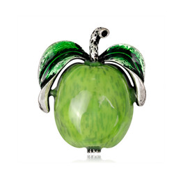 african suits UK - New Arrival Apple Shape Brooch 4.6*3.9cm Women Girls Christmas Brooch Suit Lapel Pin Jewelry Accessories with Fast Shipping