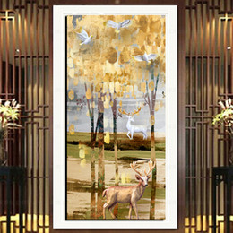 golden tree oil painting NZ - Large HD Print On Canvas Golden Tree White Dove Deer Picture Wall Art Home Decor Oil Painting Abstract Poster and Prints