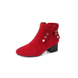 $enCountryForm.capitalKeyWord UK - JXYZ828-202 In autumn and winter, rough and round head, suede, bow, rivet, zipper, and simple red riding boots.