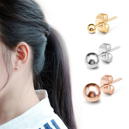Discount 18k yellow gold earrings - 3MM 4MM 5MM Round Ball Stud Earrings For Women Girls New Fashion Classic Design White Gold Rose Gold Yellow Gold Color E