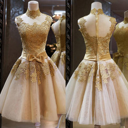 Short Bows Canada - Lace Applique Gold Short Prom Dresses Cheap High Collar Champagne Tulle Illusion Back Bow Sash Homecoming Dress Custom Made China EN2108