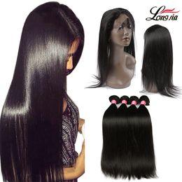 Discount bundles hair 16 18 24 - Peruvian Straight Hair 360 Lace Frontal Closure With Bundles Human Hair 3 Bundles With Closure Straight Virgin Human Hai
