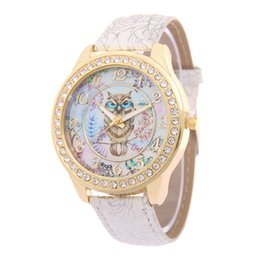 owl bracelet watches NZ - Hesiod Top Brand Luxury Wristwatch Ladies Rose Pattern Leater Bracelet Watches Owl Design Gold Rhinestone Casual Watch Relojes