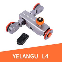 Rechargeable Shockproof Camera Australia - YELANGU Electric Dolly 3-Wheel Pulley Car Rail Rolling Track Slider With Manual Remote Control For Smart Phone DSLR Camera