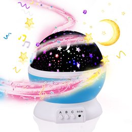 Discount led spin ball 3D Night Child projector music Night Light Projector Spin Starry Star Master Children Kids Baby Sleep Romantic Led USB P