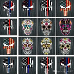 Flags For Cars Windows NZ - New Blue Line Flag Decal - 10*15 CM American Flag skull head Sticker for Cars and Trucks - Wall Window Stickers Decorative Stickers I241