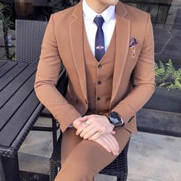 Grey Colour Suits NZ - 2018 New Men Suits Colour Khaki Dark Grey Black Classic Design Slim Fit Men's Suit Jacket and Vest and Pants Size S-3XL