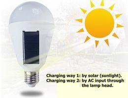 Solar Energy Saving Bulbs Australia - Electronic Solar LED bulb Lamp E27 85-265V 7W 12W Energy Saving Light Portable Intelligent Lamp Rechargeable Emergency lantern with hook