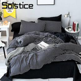 $enCountryForm.capitalKeyWord Canada - Solstice Home Textile Black White Stripe Bedding Set Girl Teen Boys Bedclothes Duvet Cover Pillowcase Bed Sheet King Twin 3-4Pcs