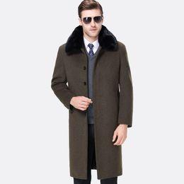 Single Hair Weave UK - new arrival Men Clothing Thickened plus Velvet Long Rex Rabbit Hair Collar Coat Turn-down Collar X-long Casual plus size M-4XL