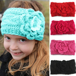 BaBy Bandanas crochet online shopping - Children Girls Winter knitting Crochet Headbands Baby European Style Bandanas Flowers Braided Headscarf kids Beanies Cap C5422