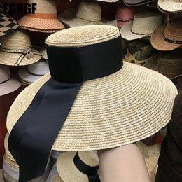 FGHGF Mujeres naturales Sombreros para el sol Cinta negra 9 cm 13 cm 15 cm  Top plano Gran ancho Ancho Sombreros de paja Sombrero de paja Sombrero  Chapeu ... 6512e94c094