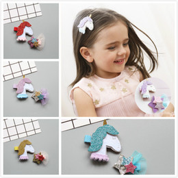 handmade suit baby Australia - Hot Cute Animal Blind Sequins Unicorn and Star Suit Hairpins Original Handmade Shining star Baby Hair Headdress Head Clip
