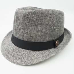 Chinese  Linen Fabric Stingy Brim Fedora Dad Men Designer Hat Women Ladies Hats for Summer Beach Holiday Classic Jazz Hats EPU-MH1819 manufacturers